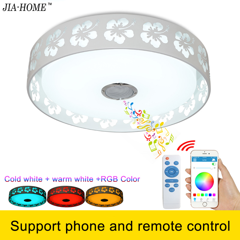 Bluetooth led flush mount ceiling lights for party with speaker and remote or phone app control dome ceiling light fixtures cybernetics or control