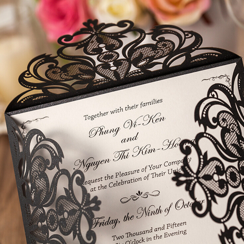 Black Square Hollow Flora Customizable Vintage Laser Cut Wedding ...