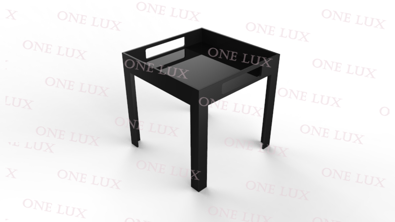 One Lux Black Acrylic Vanity Tray Table Lucite Side Corner
