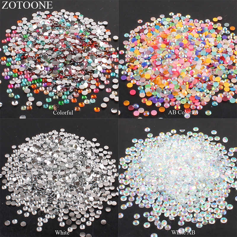 ZOTOONE 2-6mm 1000Pcs 3D Nail Art Decoration Strass Rhinestones Crystal Clear AB None Hotfix Flatback Rhinestoens for Clothes E