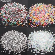 ZOTOONE 2-6mm 1000Pcs 3D Nail Art Decoration Strass Rhinestones Crystal Clear AB None Hotfix Flatback Rhinestoens for Clothes E