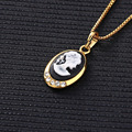 New style Fashion Jewelry Gold Plated Luxury Beaut Long Choker Necklaces & Portrait Pendants for Women and Girl Best Gift Friend
