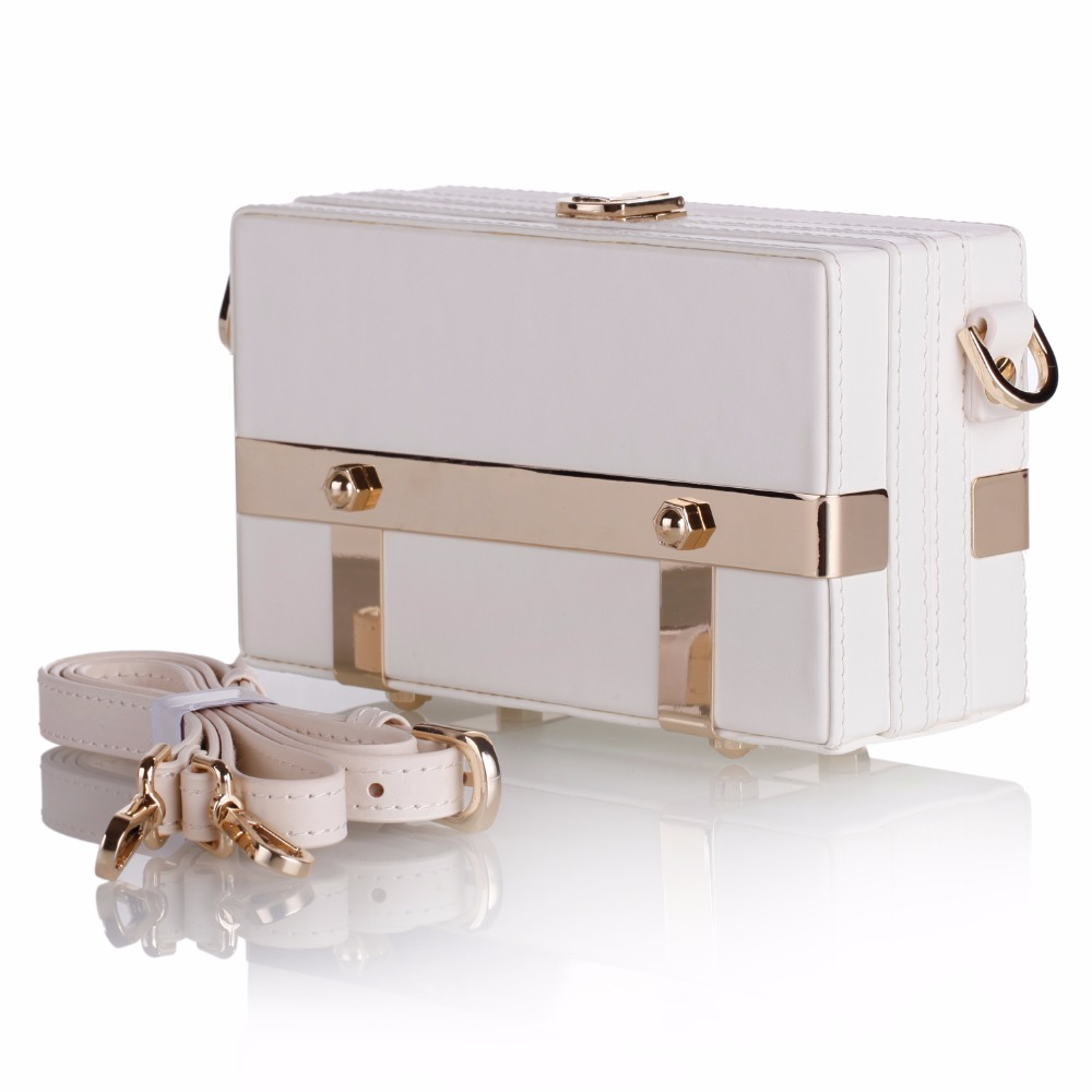 New Fashion Storage Box Trinket Cards White Black Metal Bag PU Leather Strap Carrying Travel Case Luxury Cell Phone Shoulder Bag universal waterproof bag with earphone armband strap for iphone cell phone white black