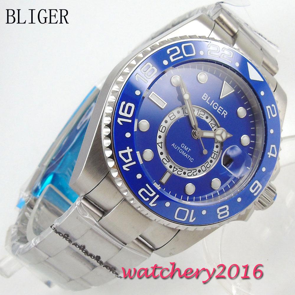 43mm Bliger Sterile Blue Dial ceramic Bezel Sapphire Glass Luminous Hand Complete Calendar GMT Automatic Mechanical Men's Watch цена 2017