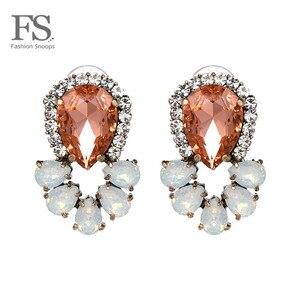 FASHIONSNOOPS nowości urok pełny kryształ komunikat luksusowe gorąca stadniny kolczyki dla kobiet romantyczny kolor błyszczące stadniny kolczyki