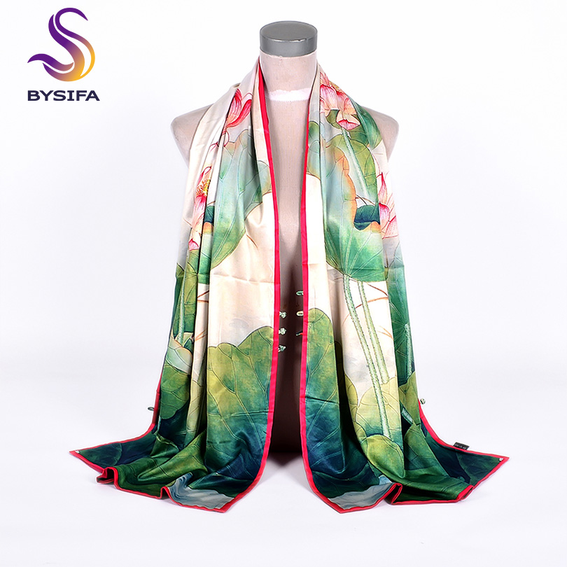 [BYSIFA]  New Buttons Scarves Shawls Female Fashion Green Lotus Design Double Faces Wraps Autumn Winter Silk Neck Scarf 175*50cm