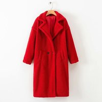 Europe and the United States fresh air solid color Teddy warm long coat lamb fur coat