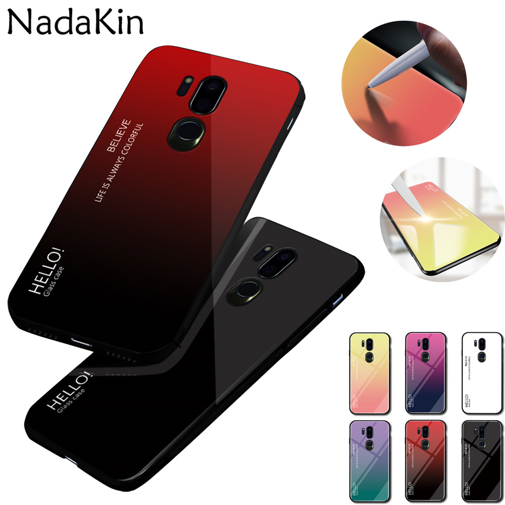 Gradient Aurora Back Tempered Glass Fitted Phone Case For LG G7 ThinQ Luxury Stylish Cover Shell Anti Dust