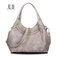 Beading Shoulder Bags Women 2017 New Fashion Casual Tote Bag Handbag Hobos High Quality PU Leather