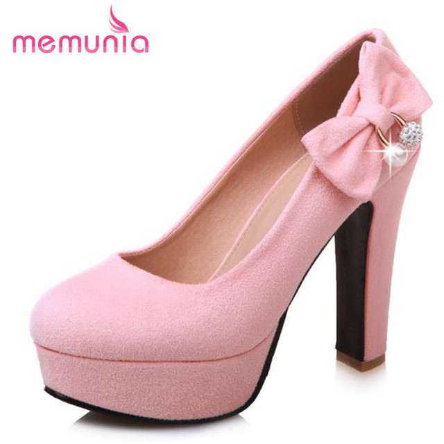 MEMUNIA Big size 34-43 shoes women sweet fashion high heels shoes platform  bowtie flock 5aebc07da1b9