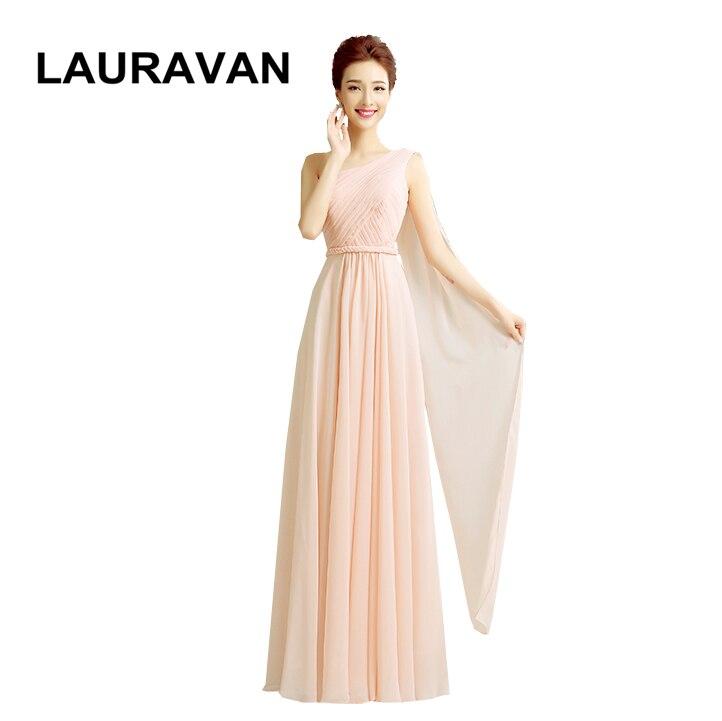 pretty light peach chiffon flower long elegant   dress   women formal chiffon party /  bridesmaid     dresses  /one shoulder for wedding