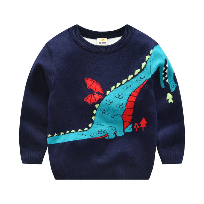 все цены на Winter 2018 Boys Dinosaur Round Neck Knit sweater Baby girls cardigan Warm tiny cottons Sweaters christmas Gift kids cardigans