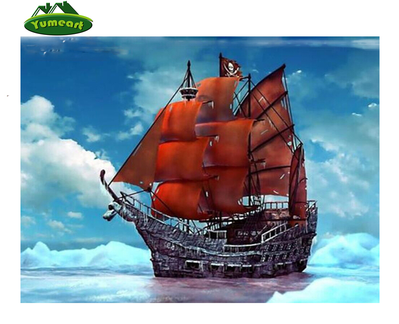 Diy 5D Diamond Painting Ocean Ship Pattern Full Square Drill Diamond Painting Diamond Embroidery Paintings Beadwork Home Dcor