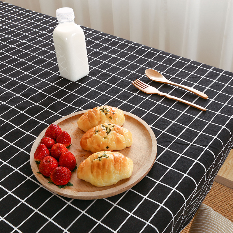 Linen small fresh table cloth lattice art desk coffee dining simple modern rectangle table-cloth