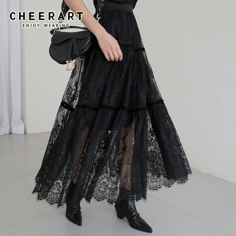 CHEERART Long Lace Skirt Black Midi Ladies Skirt Women High Waist Korean Skirt Elastic Waist Long Skirt Clothes
