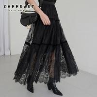 Cheerart Long Lace Skirt Black Midi Ladies Skirt Women High Waist Korean Skirt Elastic Waist Long Skirt Clothes
