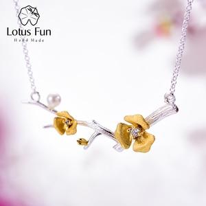 Image 1 - Lotus zabawy prawdziwe 925 Sterling Silver Handmade projektant biżuterii Delicated kwiat śliwy naszyjnik kwiatowy z łańcucha dla kobiet