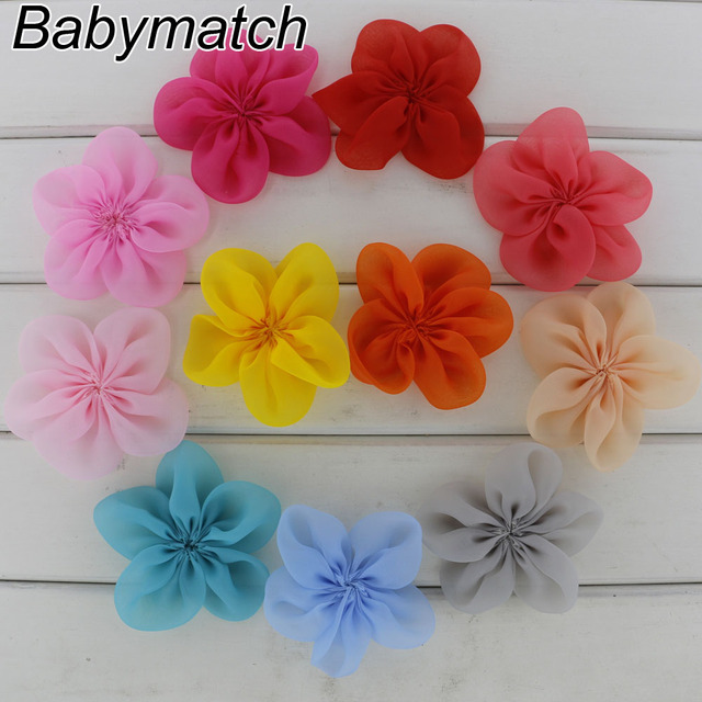 Babymatch 88pcslot 25 Chiffon Flowers Fabric Silk Hair Flowers