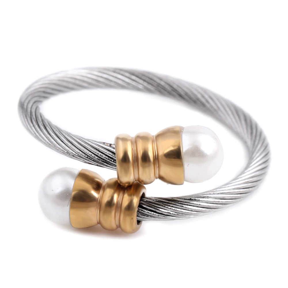 Romantic Pearl Round Gold Color Bangle Simplicity Adjustable Design Bracelet & Ring Fashion Jewelry Set Open Women Wedding Gift
