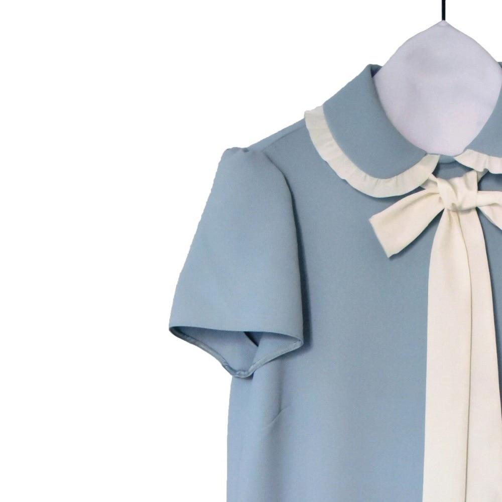 Manches Col Couleur Courtes Nouveauté 2019 Peter Arc Pan Douce Mini Pur Ruban Ample Robe Fille wSagqxXBx