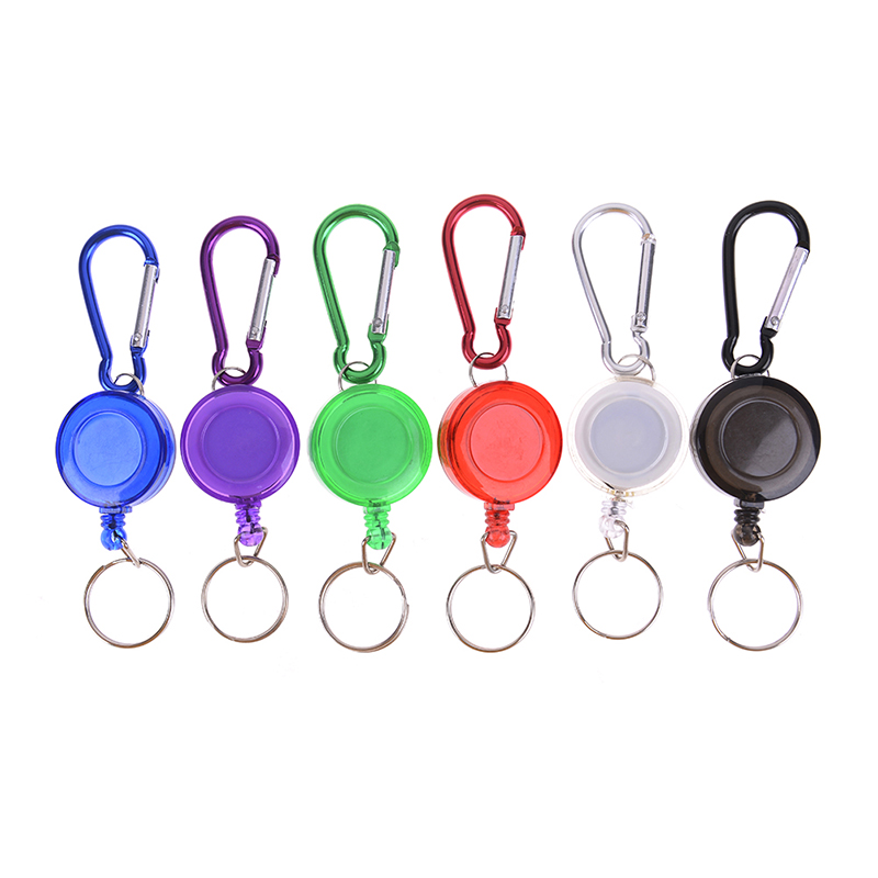 1PCS Mulitifunctional Multicolor Badge Reel Retractable Keychain ID Card Holder Keyring Key Chain Steel Cord