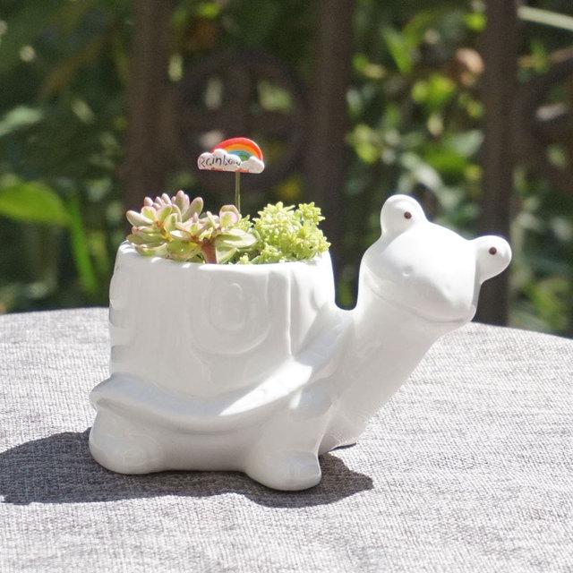 White Elephant Shaped Ceramic Planter Vase