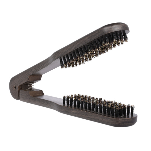 Double Sided Straightening Hair Brush Comb Clamp Hairdressing Natural Bristle Styling Tools