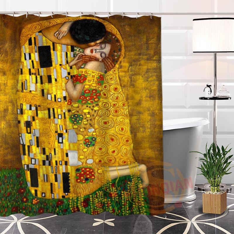 Custom Unique Klimt Famous Paintings Shower Curtain Polyester Fabric Printing Bathroom Curtains 3D Waterproof Bath Curtain Gift