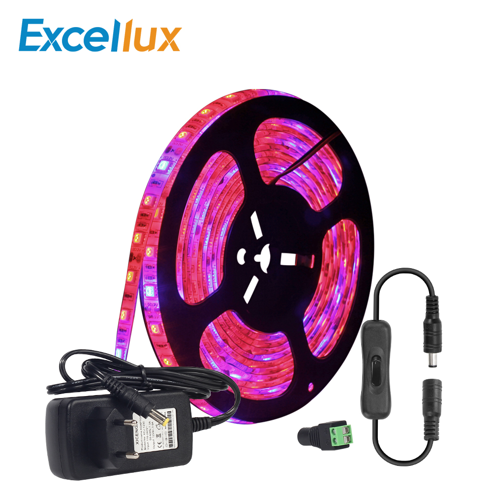 5M/lot DC 12V Plant Grow Light Strip full spectrum 60LEDs IP65 Waterproof Red+Blue led Strip Light For Indoor Plants EU/US Plug zdm 5m 72w led plant light strip 300pcs 5050 5 red 1 blue group dc 12v