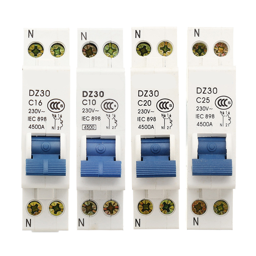 DZ30-32 10A/16A/20A/25A 1P+N Miniature Circuit Breaker DPN Air Switch free shipping new chint miniature circuit breaker dz267 32 1p n c6 6a home circuit breaker circuit protector switch