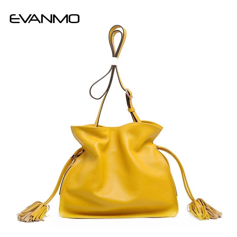 цена на Fashion Colorful Bucket Bag Genuine Leather Women High Quality Real Leather Shoulder Bag Brand Desinger Ladies Crossbody Bags