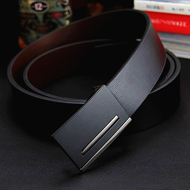 2018 Men's Belt genuine leather Belt men real cowhide leather belt business formal metal buckle belts gift for Men birthday gift