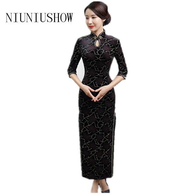 3237ef61b54 Traditional Chinese Dress Women Slim Flower Qipao Mandarin Collar Velvet  Handmade Button Multicolor Female Cheongsam Size S-3XL