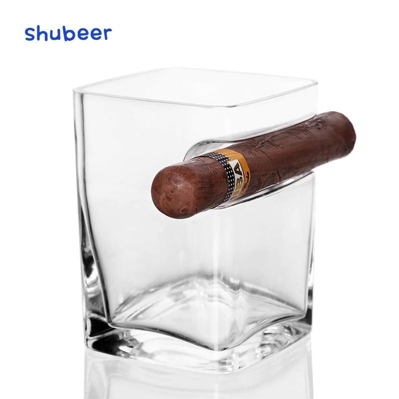 360ml 1PCS Cigar Cup Cigarette Crystal Bar Office Drinking Wine Brandy Liquor Creative Thicken Whisky Glasses Square Swig Mug
