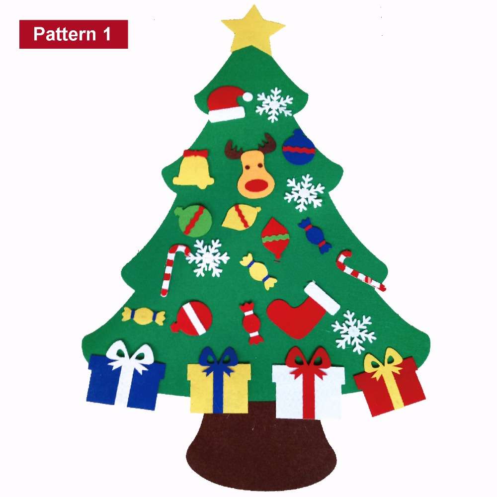 2017 New Kids Diy Felt Christmas Tree Set With Ornaments Children Gift  Toddler Door Wall Hanging