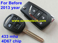Before 2013 year Flip Folding Remote Key For Toyota Land Cruiser Prado 433Mhz With 4D67 Chip Car Alarm Fob