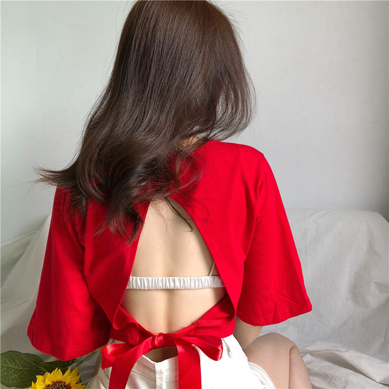 Lychee Girls Summer Women Lace Up Bowknot T Shirt Harajuku Backless Loose Short Sleeve T Shirt Tee Top Female