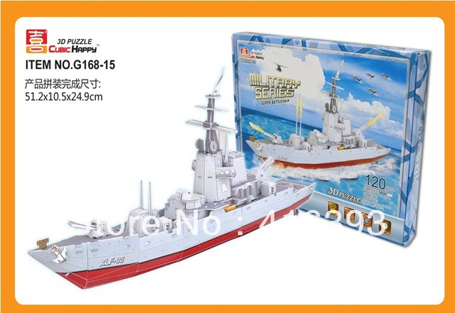 New Arrivals: Cubic Happy 3D puzzle building paper model /educational toys -Super battleship G168-15