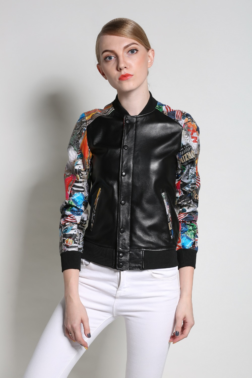 2019 New fashion Women Real leather jackets and coats Printed Genuine leather jacket Spring autumn black