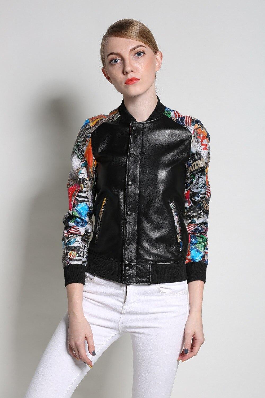 2019 새로운 패션 여성 진짜 가죽 자 켓과 코트 인쇄 정품 가죽 자 켓 봄가 블랙 S XXL 양 피 코트-에서가죽 & 스웨드부터 여성 의류 의  그룹 1