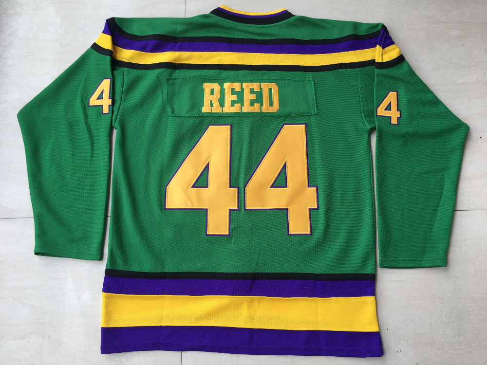 Mighty Ducks Jersey #44 Fulton Reed Anaheim Ducks Film Jersey, Mann Throwback Hockeyjerseys Genäht Grün S-3XL Freies verschiffen