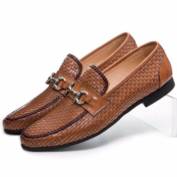 Large Size EUR46 Woven Design Black Summer Loafers Shoes Genuine Leather Mens Casual Shoes With Buckle