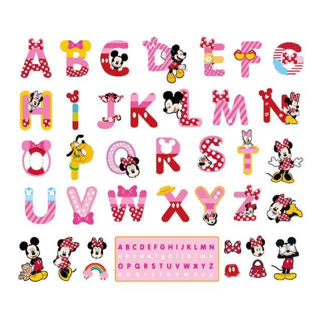 Minnie ABC English Alphabet cartoon funny letters wall stickers