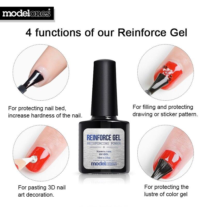 Modelones Reinforce Gel Polish Protect Nails UV Nail Varnish Polish Soak Off Base Coat Nail Primer Top Coat Reinforcement UV Gel Комедон