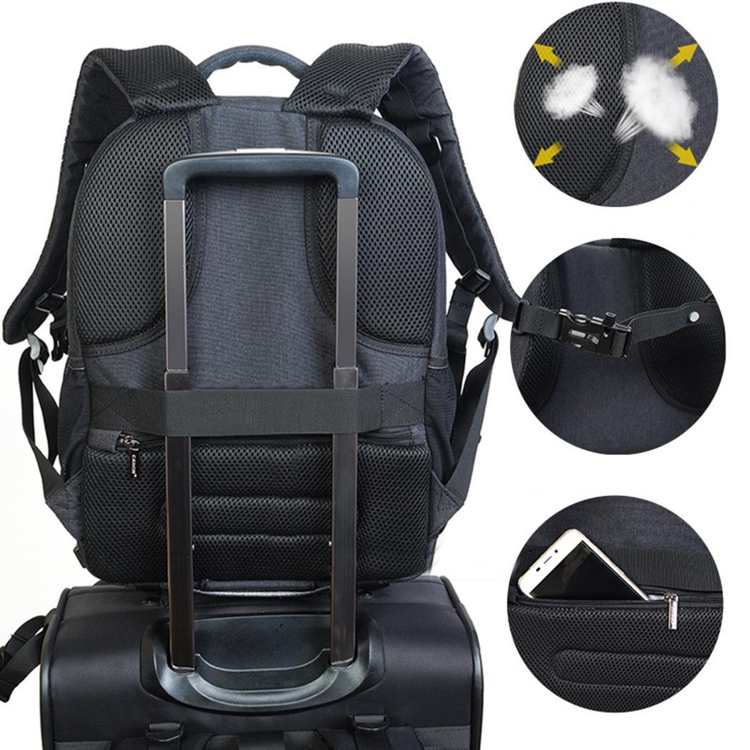 Waterproof Portable DSLR Camera Bag Professional Black Photography Zipper Backpack