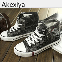 Akexiya New 2017 Fashion Men Canvas Shoes High Top Casual Denim Canvas Shoes Lace Up Male