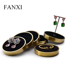 FANXI Fashion Earring Display Metal Ring Display stand Ring Bracelet Exhibit Round Organizer shelf for Jewelry