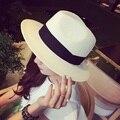 2016 NewFashion Лето Повседневная Мужская Пляж Шляпа Большой Шляпы Джаз Вс Шляпа Панама Бумаги Соломы Женщины Мужчины Кепка С Черной Лентой