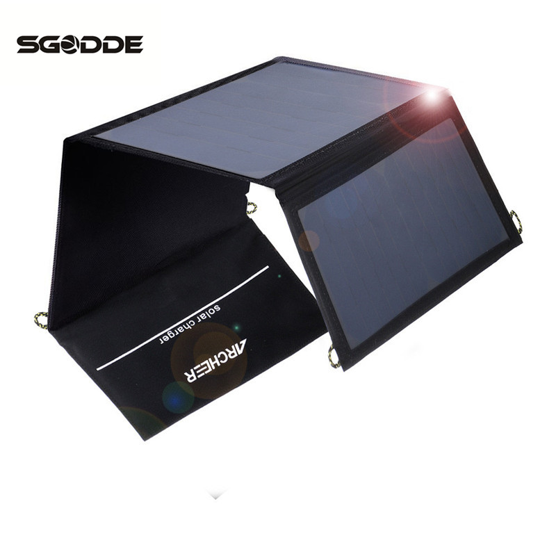 SGODDE Solar Panel 5V 21W USB Output Mono Cell Foldable Solar Power Charger for Smartphone with Power Bank Holder Outdoor Tool new solar panel 30000mah diy waterproof power bank 2 usb solar charger case external battery charger accessories