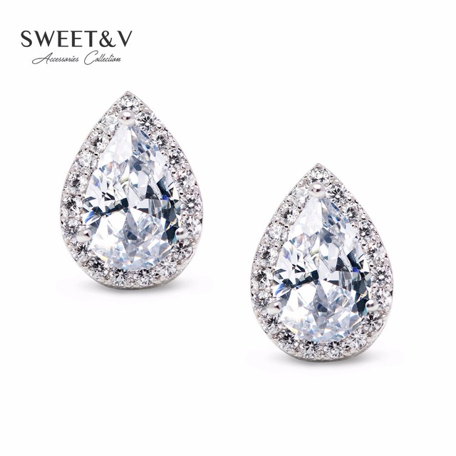 Sparkling Cubic Zirconia Teardrop Stud Earrings Women S Crystal Jewelry For Birthday Prom Anniversary